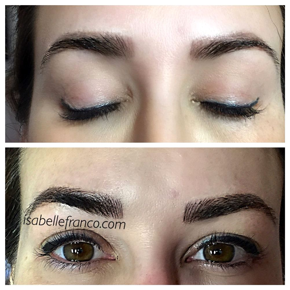 The main difference between permanent makeup and microblading prefabricated stencils to